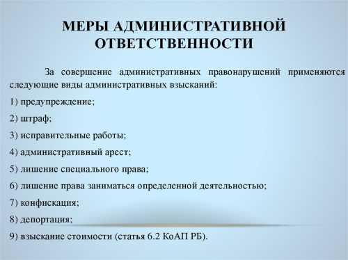 Меры административной ответственности